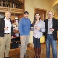 Steve Thomson of King Estate Winery, Jean-François Pellet, winemaker Pepper Bridge Winery, Tara Good and Michael Kaiser, WineAmerica, at Pepper Bridge Winery.