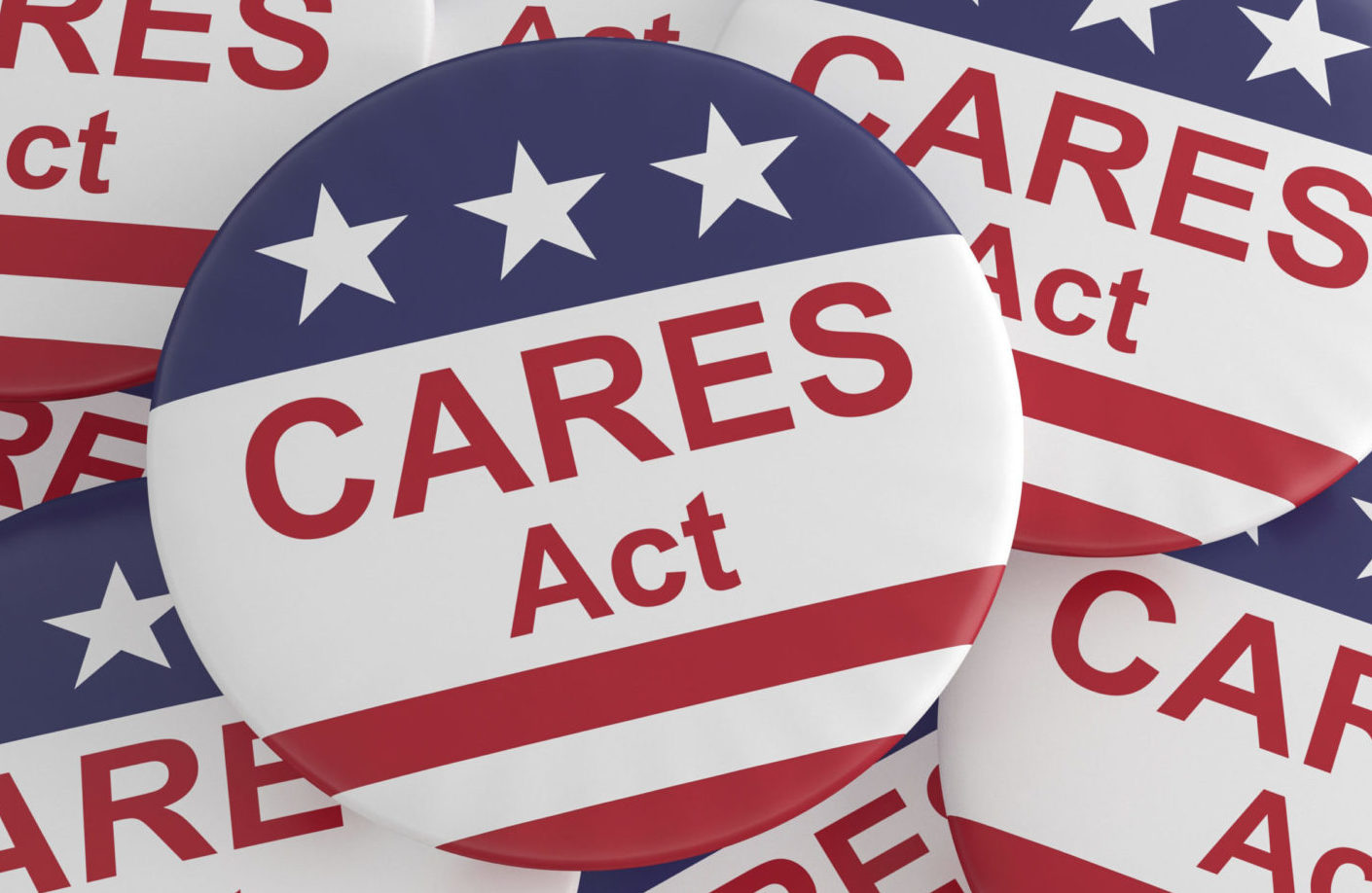 Pile of CARES Act Buttons With US Flag