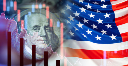 US financial market. Concept – government bonds of America. Flag of the United States of America. Franklin Partret next to the falling charts. Collapse of the economy. Crisis. Recession